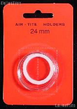 "Air-Tite Coin Capsule ""T"" White Ring Coin Holder for 24mm Coins quarters"