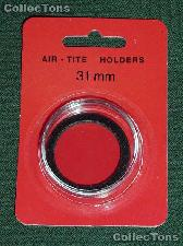 "Air-Tite Coin Capsule ""H"" Black Ring Coin Holder for 31mm Coins"