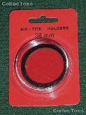 "Air-Tite Coin Capsule ""I"" Black Ring Coin Holder 38mm Coins LARGE DOLLARS"