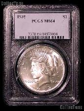 1935 Peace Silver Dollar in PCGS MS 64