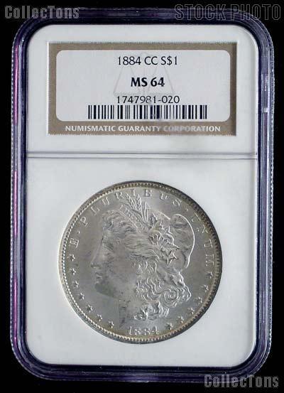 1884-CC Morgan Silver Dollar in NGC MS 64