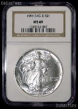 1991 American Silver Eagle Dollar in NGC MS 69
