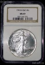 1990 American Silver Eagle Dollar in NGC MS 69