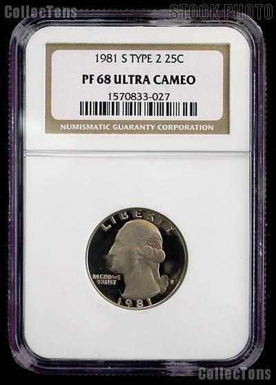 1981-S Washington Quarter Proof Type 2 in NGC PF 68 Ultra Cameo