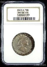 1949-D Franklin Silver Half Dollar in NGC MS 64 FBL (Full Bell Line)