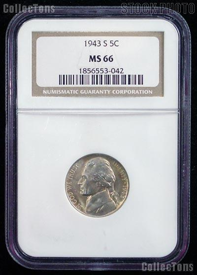 1943-S Jefferson Silver War Nickel in NGC MS 66