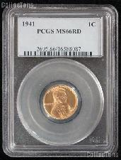 1941 Lincoln Wheat Cent in PCGS MS 66 RD