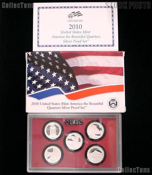 2010 SILVER QUARTER PROOF SET * 5 Coin U.S. Mint Proof Set