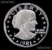1981-S Susan B Anthony Dollar Type 1 Gem PROOF 1981 SBA Dollar Proof