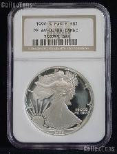 1990-S American Silver Eagle Dollar PROOF in NGC PF 69 ULTRA CAMEO