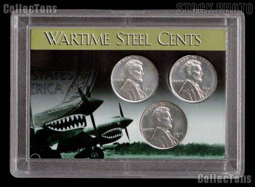 1943 Steel Penny Set 3 BU Wartime Lincoln Wheat Cents in Coin Holder