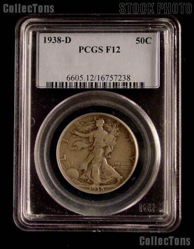 1938-D Walking Liberty Silver Half Dollar KEY DATE in PCGS F 12
