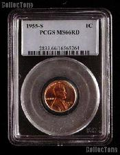 1955-S Lincoln Wheat Cent in PCGS MS 66 RD