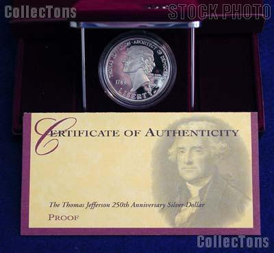 1993 Thomas Jefferson 250th Anniversary Commemorative Proof Silver Dollar