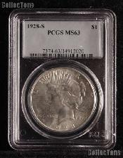 1928-S Peace Silver Dollar in PCGS MS 63
