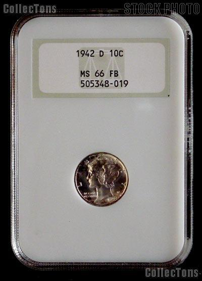 1942-D Mercury Silver Dime in NGC MS 66 FB (Full Bands)