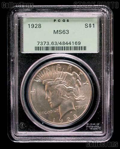 1928 Peace Silver Dollar KEY DATE in PCGS MS 63