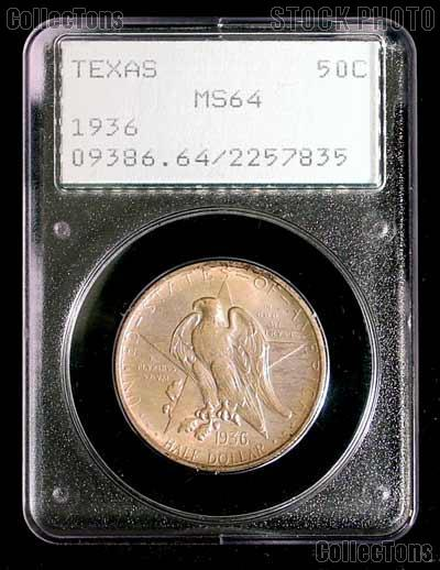 1936 Texas Independence Centennial Silver Commemorative Half Dollar in PCGS MS 64