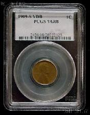 1909-S VDB Lincoln Wheat Cent KEY DATE in PCGS VG 8