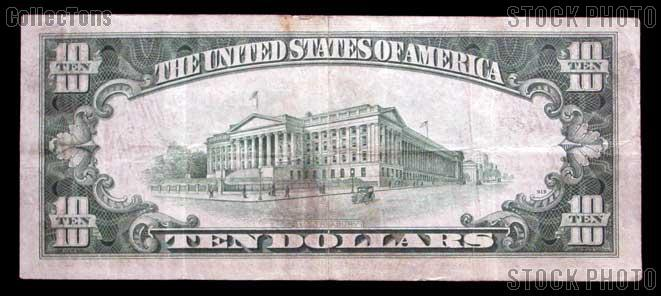 Ten Dollar Bill Silver Certificate Series 1934 US Currency Good or Better