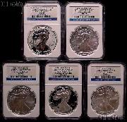 2011 25th Anniversary American Silver Eagle Set (5 Coins) in NGC Early Release MS 69 & PF 69