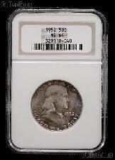 1952 Franklin Silver Half Dollar in NGC MS 64