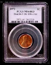 1972 Doubled Die Obverse DDO Lincoln Memorial Cent in PCGS MS 64 RD (Red)
