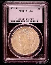 1922-S Peace Silver Dollar in PCGS MS 64