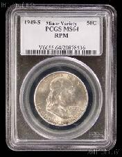 1949-S Franklin Silver Half Dollar KEY DATE in Minor Variety PCGS MS 64 RPM (Re-Punched Mintmark)