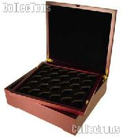 Coin Box for Four Coin Trays Mahogany Wood Coin Display