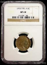 1913 Type 1 Buffalo Nickel in NGC MS 64