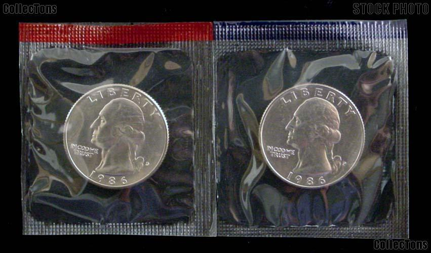 1986 P&D Washington Quarters Uncirculated (BU) in Mint Cello
