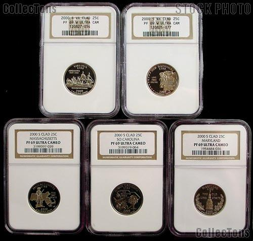 2000 Proof State Quarters Set all 5 San Francisco (S) Mint Coins in NGC PF-69 Ultra Cameo (UCAM)