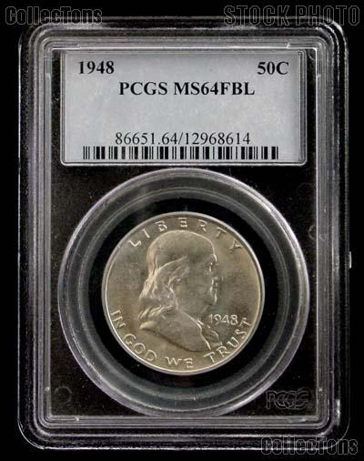 1948 Franklin Silver Half Dollar in PCGS MS 64 FBL (Full Bell Lines)