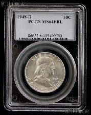 1948-D Franklin Silver Half Dollar in PCGS MS 64 FBL (Full Bell Lines)