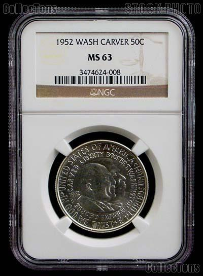 1952 Washington-Carver Silver Commemorative Half Dollar in NGC MS 63