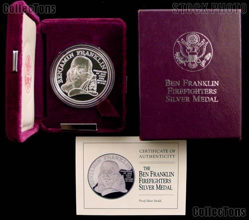 Ben Franklin Firefighters Proof Silver Medal 1992 P