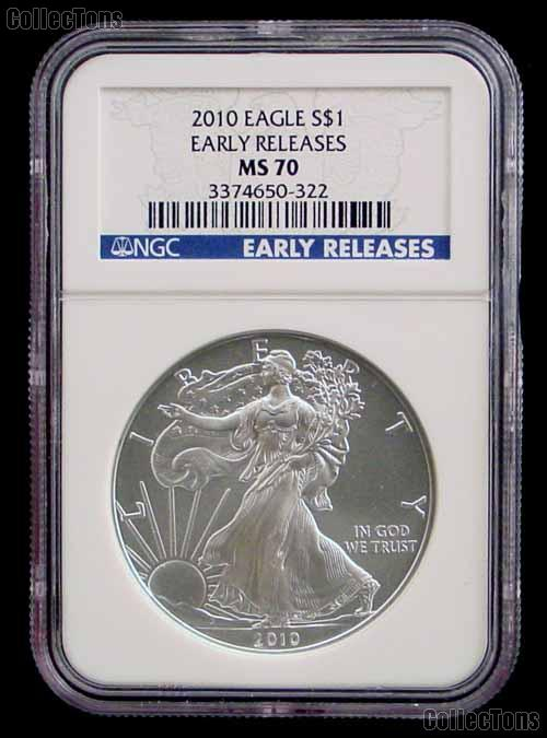 2010 American Silver Eagle Dollar in Early Releases NGC MS-70
