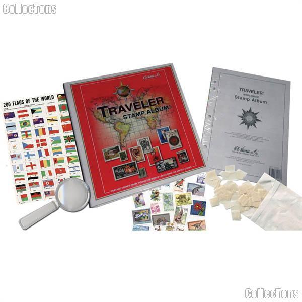 Stamp collecting starter kit set worldwide traveler by harris 35