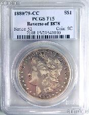 1880/79-CC (Rev 78) Morgan Silver Dollar in PCGS F 15