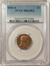 1931-S Lincoln Wheat Cent in PCGS MS 63 RD (Red)