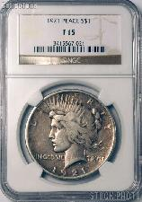 1921 Peace Silver Dollar KEY DATE in NGC F 15