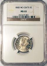 1883 Liberty Head V Nickel Variety 1 NO CENTS in NGC MS 65