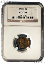 1911-S Lincoln Wheat Cent KEY DATE in NGC VG 10 BN
