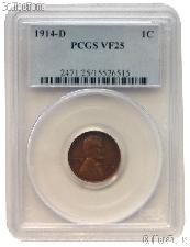 1914-D Lincoln Wheat Cent KEY DATE in PCGS VF 25