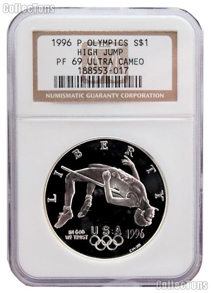 1996-P Atlanta Olympic Games Centennial High Jump Commemorative Proof Silver Dollar in NGC PF 69 Ultra Cameo