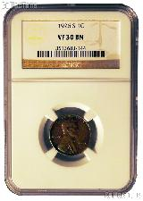1926-S Lincoln Wheat Cent in NGC VF 30 BN (Brown)