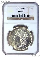 1921-D Morgan Silver Dollar in NGC MS 64