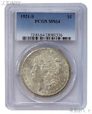 1921-S Morgan Silver Dollar in PCGS MS 64