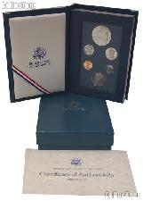 1987 PRESTIGE PROOF SET Deluxe Box & Papers 6 Coin U.S. Mint Proof Set
